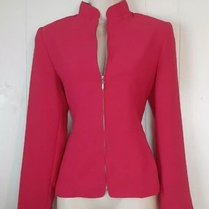 Pink Blazer Sz S Zip Jacket Lined Crossing Pointe